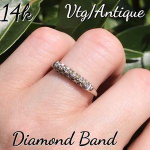 14k White Gold Vtg/Antique Diamond Band Ring